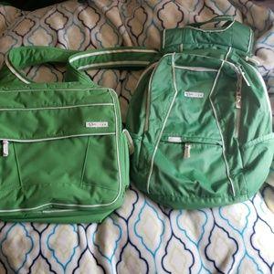 OGIO green and white backpack/shoulder bag set